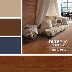 Elements Redwood Luxury Vinyl flooring looks beautiful with this color combination. Laminate Colours, Luxury Vinyl Flooring, Living Room Flooring, Paint Ideas, Color Combinations, Paint Colors, Floors, Toddler Bed, Carpet