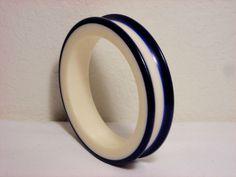 Vintage Blue Cream Bangle Bracelet Lucite #Bangle