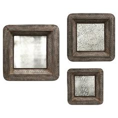 Aurora Distressed Mirrored Decorative Wall Sculpture - Set of 3