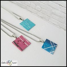 Necklace canvas hand painted Sylvie  Square  Abstract by DecArttoi, $18.00 pretty quirky individual swedich chic , lagenlook style pendants , cool alice jewellery accessory to put with everyday wear to make any ordinary outfit stand out from the crowd