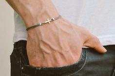 Cross bracelet for men, groomsmen gift, men's bracelet with a silver cross pendant, gray cord, gift for him, christian catholic jewelry
