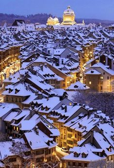 Snow Covered Roofs in Bern, Switzerland