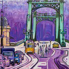 Budapest, Vámház krt Szabadság híd, túlsó part  2014 -- 60x60 olaj-vászon