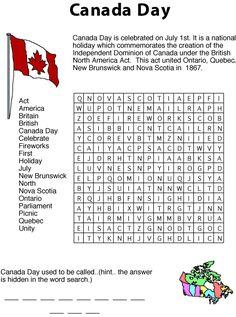 Print and solve this Canada Day words search puzzle. A free printable puzzle for kids from Squiglys Playhouse. Canada Day Party, Canada Day 150, Happy Canada Day, O Canada, Canada Day Crafts, Esl, British North America, Senior Activities, Work Activities