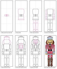 Draw a Nutcracker with Fancy Decorations · Art Projects for Kids Christmas Art Projects, Winter Art Projects, Projects For Kids, Christmas Crafts, Xmas, Christmas Yard, Nutcracker Crafts, Nutcracker Christmas, Nutcracker Music
