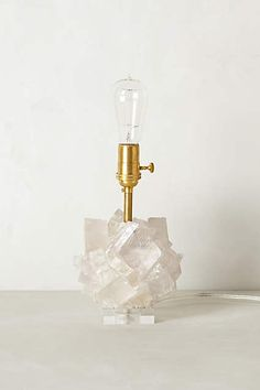 Calcite Crystal Lamp Base from Anthropologie. Saved to Interior. Shop more products from Anthropologie on Wanelo. Chandeliers, Plywood Furniture, Lite Brite, Calcite Crystal, Quartz Crystal, Bedside Lamp, Lamp Bases, Home Decor Trends, Home Lighting