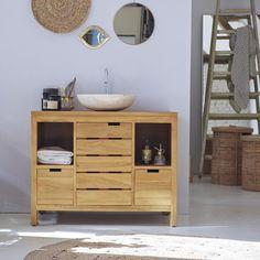 meuble_vasque_bois__l_100_x_h_80_x_p_60_cm__tikamoon_serena Living Furniture, Cool Furniture, Teak Plywood, Under Sink Storage Unit, Transforming Furniture, Mirror Shapes, Reupholster Furniture, Medicine Cabinet Mirror, Towel Rail