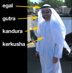 Traditional Arab dress for men.....the kerkusha is specifically Emirati.....
