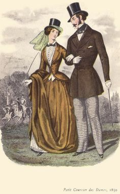 Dress Fannie is wearing - 1850 - yellow riding habit  Note the lady's topper? Also the jacket over vest clearly taking influences fro menswear? The skirt is narrower in width but with lots of volume and excess length so that it will drape as she rides. This time period also so a kind of early fedora meets sun hat as a riding hat as well. More practical, if you ask me.