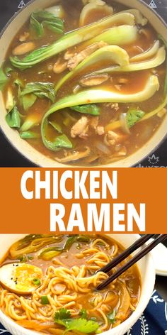 - This Easy Chicken Ramen can be made at home in about 30 minutes! A flavorful broth with chicken and noodles, and don't forget the ramen egg! Easy Chicken Recipes, Easy Dinner Recipes, Asian Recipes, Soup Recipes, Easy Meals, Cooking Recipes, Easy Ramen Recipes, Recipes With Chicken Broth, Sopa Ramen