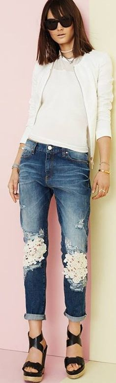 Love these jeans . . . next refashion . . . denim lace