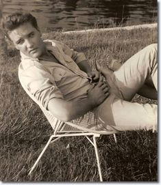 #elvis Presley relaxing at Port Paradise Hotel in Crystal River after shooting the movie scenes all day at Yankeetown.