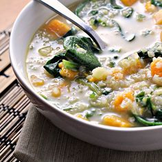 Quinoa Chowder with Sweet Potatoes, Spinach, Feta, and Scallions