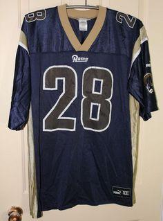... 28 Marshall faulk White Throwback Jersey(Signed Elite) NFL St Louis  Rams MARSHALL FAULK Puma XL X LARGE Football Jersey Blue Adult Elite Mens  ... 99ad5b2b0