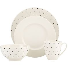 Kate Spade Larabee Dot 4 Piece Place Setting ($70) ❤ liked on Polyvore featuring home, kitchen & dining, dinnerware, polka dot dinnerware, cream dinnerware, kate spade dinnerware, set of 4 dinner plates and cream dinner plates