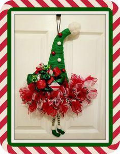 Elf Hat Wreath, Elf Legs Wreath, Christmas Wreath, Elf Wreath, Christmas Decor, Elf Decor, Holiday Wreath, Christmas Elf Hat Wreath, Gift for Her, Gift Ideas   #christmasgifts #christmasdecor #giftideas #wreaths #holidays #elfontheshelf #elfie #elfideas #elfwreath #homedecor #whimsicalchristmas #christmasdecorations #frontdoorwreath