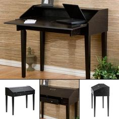 329.99 Folding Top Laptop Desk Stained with a bold ebony finish, this elegant folding writers/laptop desk features an oversized drawer for storing stationery and accessories and a fold out desktop providing ample workspace.