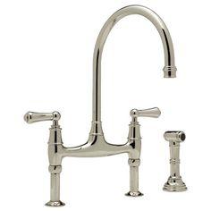 K&B Galleries Perrin & Rowe - Traditional Bridge Kitchen Faucet w/ Sidespray