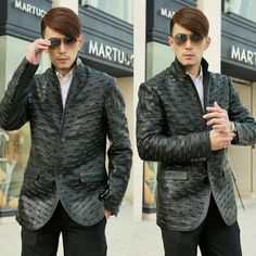 Handmade Personalized Black Leather Fitted Casual Dress Suit Jacket Men SKU-116123