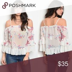 🌺 Beautiful sheer Cold Shoulder Top NEW Really pretty summer top Cold shoulder Sheer look Brand New Pink & Blue Floral Print 100% polyester Size Small & Large Tops Blouses