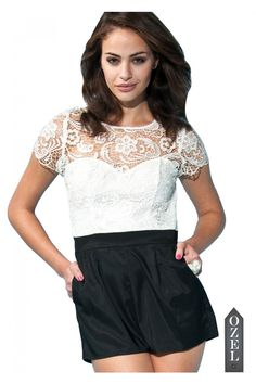 Lipsy Lace Top Playsuit - Jumpsuit - BOTTOM WEAR - CLOTHING
