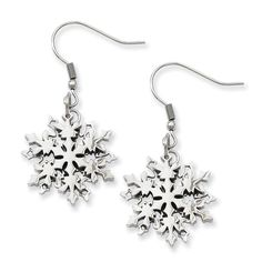 Stainless Steel Polished Snowflake Dangle Earrings