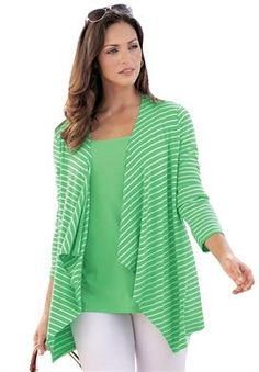 Love the cardigan for spring.  In all different colors!  Striped Cardigan | Plus Size Tops & Sweaters | Jessica London