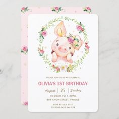 Cute Piggy Pink Floral Greenery Wreath Birthday Invitation: Cute Piggy Pink Floral Greenery Wreath Birthday Invitation $2.60 by LollipopParty 1st Birthday Invitations, Baby Shower Invitations, Birthday Cards, Pig Birthday, Girl Birthday Themes, Cute Piggies, Birthday Supplies, Greenery Wreath, First Birthdays