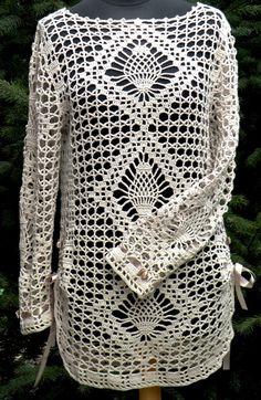 1369392387 530 Crochet Summer Dresses, Black Crochet Dress, Crochet For Boys, Love Crochet, Crochet Tunic Pattern, Gilet Crochet, Baby Knitting Patterns, Crochet Patterns, Diy Crafts Crochet