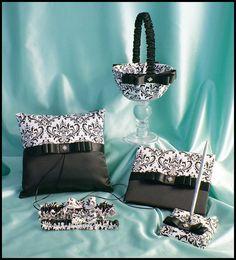 .Madison Damask Wedding Ring Pillow, Flower Girl Basket, Bridal Garter Set, Wedding Guest Book and Pen Set 7pc Set