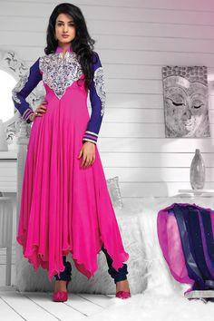 Bollywood famous diva sonal chauhan dark pink kurta and purple color sleeve heavy neck work designer salwar suit.