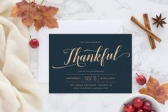 Thankful Script Invitations by ChelsCreationsDesign on Etsy