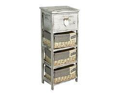 Cassettiera a 1 cassetto e 3 ceste in legno Debora - 25x77x25 cm