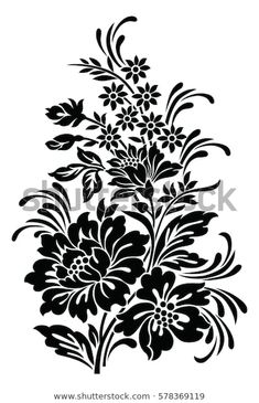Fabric Paint Designs, Stencil Designs, Stencil Painting, Fabric Painting, Baroque Tattoo, Motif Arabesque, Flower Silhouette, Stock Foto, Turkish Art