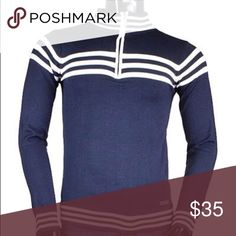 📦Men's Sweater Navy blue and white zip up sweater will add style and sophistication to your wardrobe. This gorgeous classic piece is a must have. Available in Medium and Large sizes. Sweaters