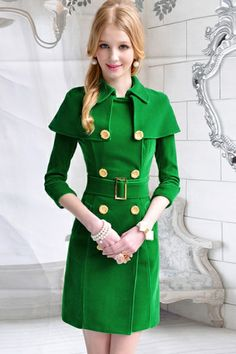 Gold-tone Daisy Button Green Cape Coat