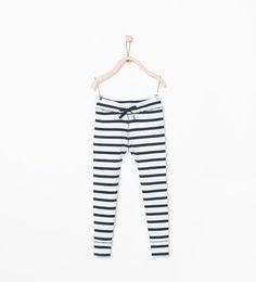 Striped ribbed leggings