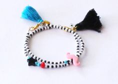 Pink moustache bracelet black and white by NataliesWunderland, $15.00