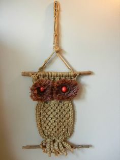 Macrame owl with furry eyes -- oh kewl