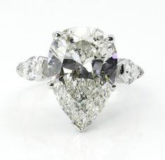 GIA Near Flawless 6.01ct Vintage PEAR Shaped 3 Stone Diamond Engagement Wedding Platinum Ring