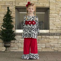 Girls Black Damask Red Corduroy Pant Set