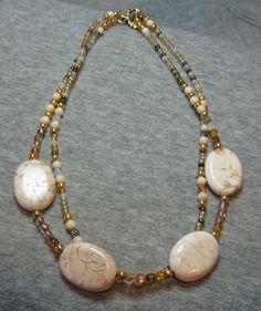 Magnesite Riverstone Czech Gold Hand Beaded by FamtasticCrafts, $22.99