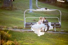 Newlyweds riding the chairlift down Hunter Mountain.  Copyright Photographics Solution 2013