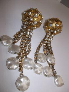 Rare Early Kenneth Jay Lane Earrings of a Sea Urchin Design //  Exceptional KJL 1960's Drop Earrings