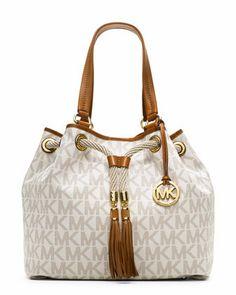 Michael Kors Drawstring Large White Shoulder Bag Pebbled Leather Golden Hardware Buckled Straps Top With Snap And Tassels