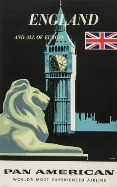"Pan Am ""England and All of Europe"" Travel Poster (1950s)"