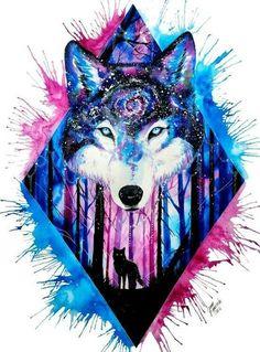 Resultado de imagem para desenho lobo aquarela