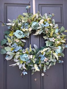 Excited to share this item from my shop: Modern farmhouse wreath Spring wreath Farmhouse wreath lambsear wreath Greenery Wreath, Hydrangea Wreath, Floral Wreath, Rustic Wreaths, Lavender Wreath, Flower Wreaths, Summer Door Wreaths, Wreaths For Front Door, Spring Wreaths
