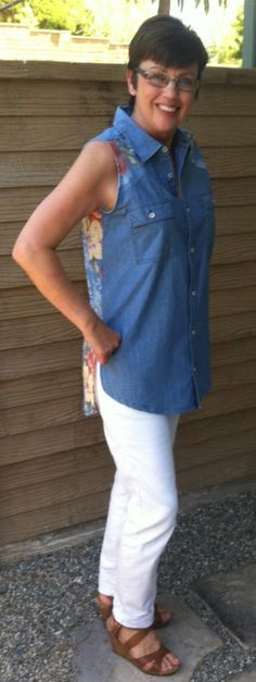 Chambray Shirt and Scarf Refashion - Refashion Co-op