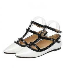 Concise Rivets Hollow-Out Pointed Toe Square Heel Flats White/Black ($12.50) http://www.clubwholesale.net/shoes/flats
